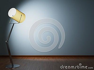 Floor lamp illuminates wall