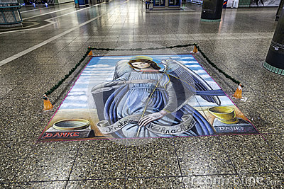 Floor painting of holy Mary Editorial Image
