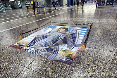Floor painting of holy Mary Editorial Photo