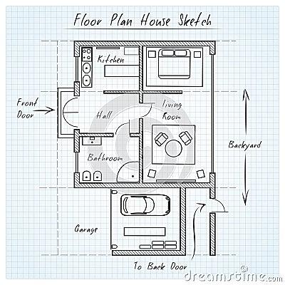 Floor Plan House Sketch Stock Vector Image 52483697