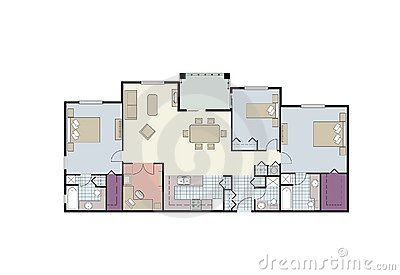 Floor Plan Of Three Bedroom Condo With Furniture Royalty