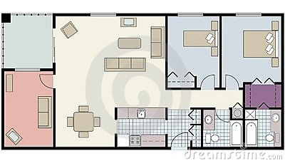 Floor plan of two-bed condo with den, furniture