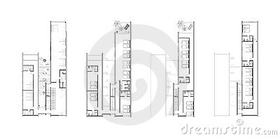 Floor plans of an architectural design