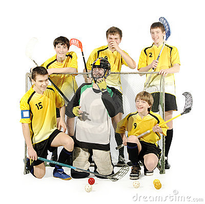 Floorball players and goalkeeper