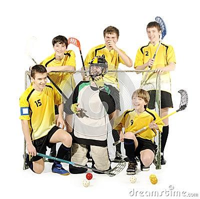 Floorball players and goalkeeper