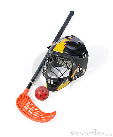 Floorball stick, helmet and ball