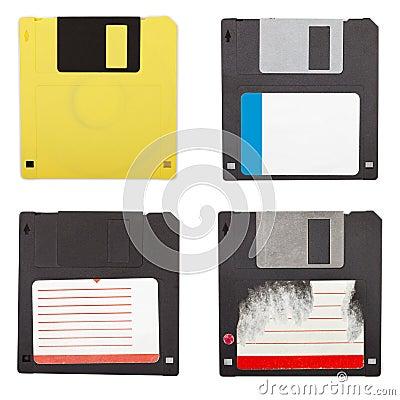 Floppy discs isolated set