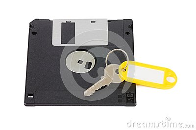 Floppy disks and key - security concept