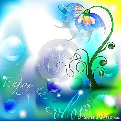 Flor de hadas en cortinas del color azul y verde