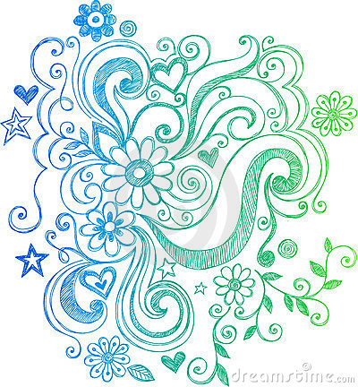 Flor esboçado do Doodle e ilustração dos redemoinhos