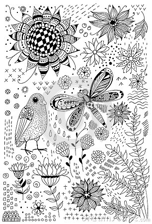 Free Flora And Fauna Doodles Royalty Free Stock Photos - 75742438