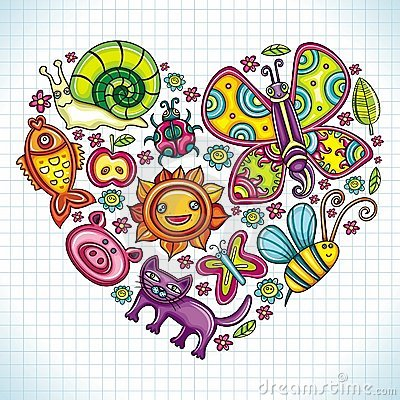 Flora and fauna theme heart.
