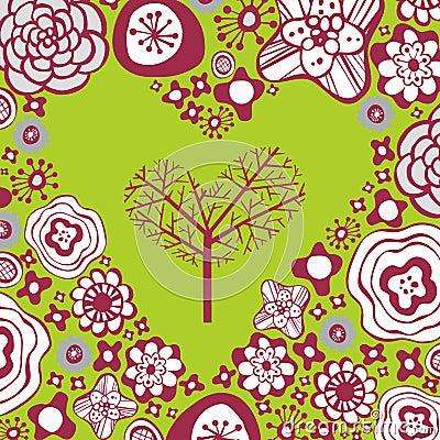 Flora love shape card