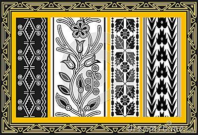 Σύνολο αρχαίων αμερικανικών ινδικών floral προτύπων