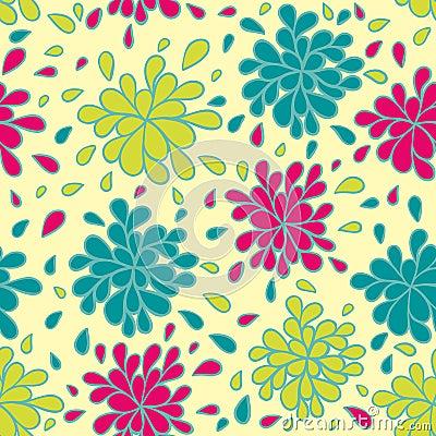 ζωηρόχρωμο floral πρότυπο άνευ ρ&