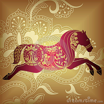 Free Floral Abstract Horse Royalty Free Stock Images - 10613709