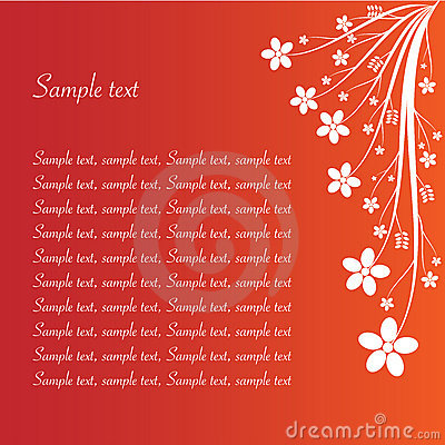Floral abstract on red with sample text