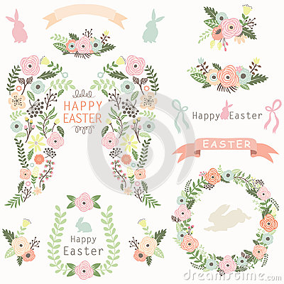 Free Floral Angel Wing Easter Elements Stock Photography - 67158642