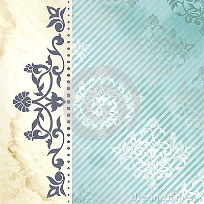 Floral arabesque background in blue and gold