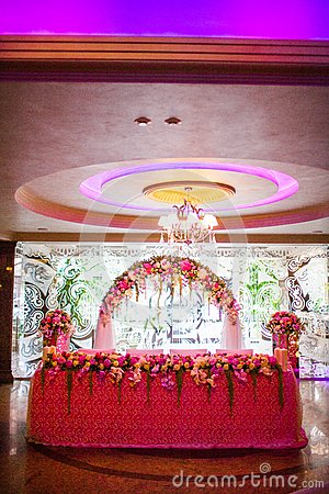 Floral arch and a table