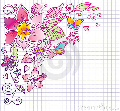 Floral background with butterfly and hibiscus. Doo