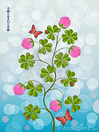 Floral background with a clover