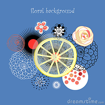 Floral background with lemon