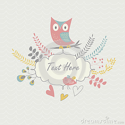 Floral background with owl and bird