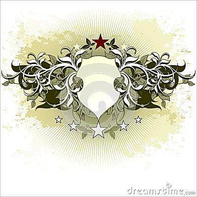 Floral background shield