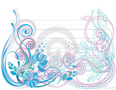 Floral background in soft blue and green