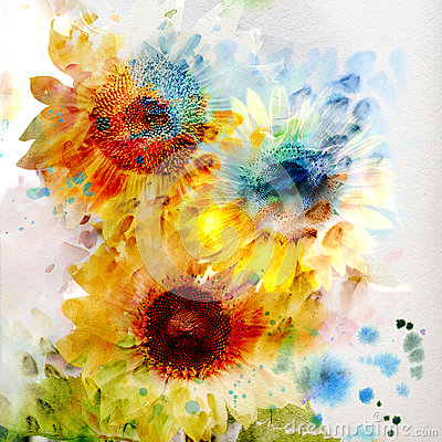Free Floral Background Watercolor Sunflowers Stock Images - 24517854