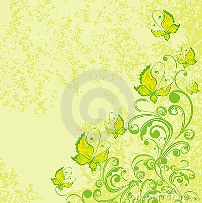 Free Floral Background With Butterfly. Vector Royalty Free Stock Photos - 15973228
