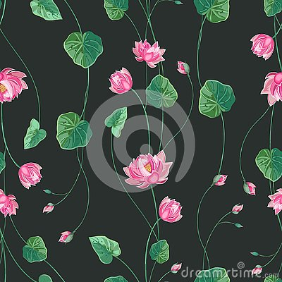 Free Floral Background With Lotus Flower And Green Leaves Royalty Free Stock Photo - 125444635