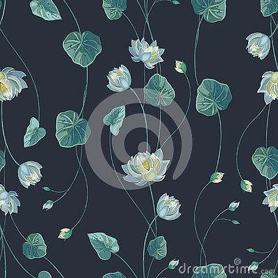 Free Floral Background With Lotus Flower And Green Leaves Stock Image - 125444701