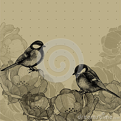 Free Floral Background With Roses And Tits, Hand-drawing. Vector Illu Royalty Free Stock Photography - 38143077