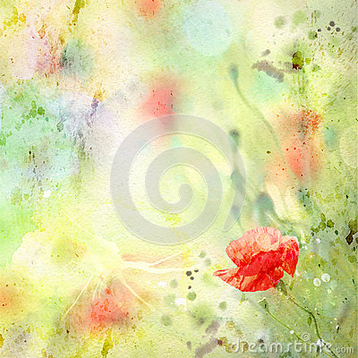 Free Floral Background With Watercolor Poppies Stock Images - 29316814