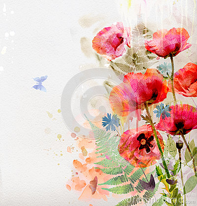 Free Floral Background With Watercolor Poppies Stock Images - 29327444