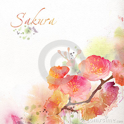 Free Floral Background With Watercolor Sakura Royalty Free Stock Photos - 29164938
