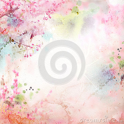 Free Floral Background With Watercolor Sakura Stock Image - 29316511