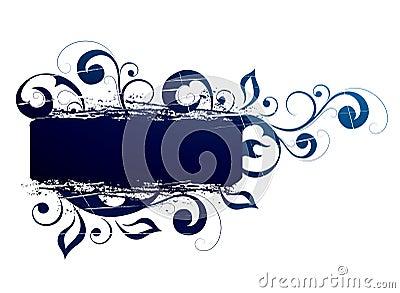 Floral banner in blue