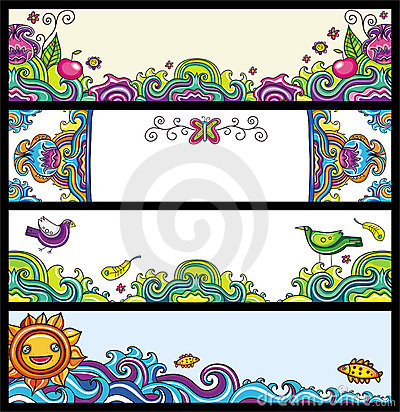 Free Floral Banners (floral Series) Royalty Free Stock Image - 14162516