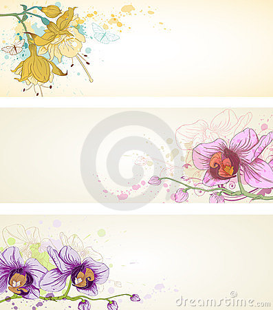 Floral banners with orchids