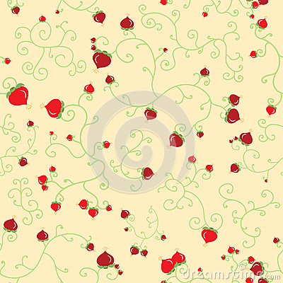 Floral berries seamless pattern