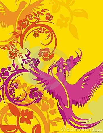 Free Floral Bird Background Series Stock Image - 1049811