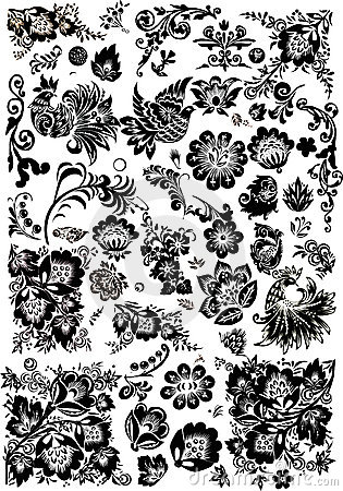 Floral and bird ornament elements