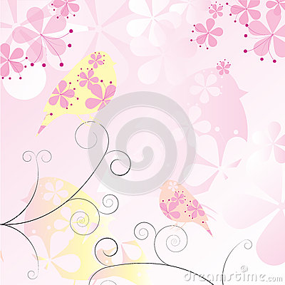 Floral Birds Background