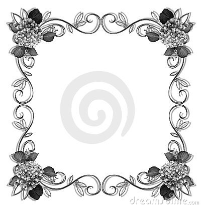 Royalty Free Stock Photo: Floral Border design element black and white