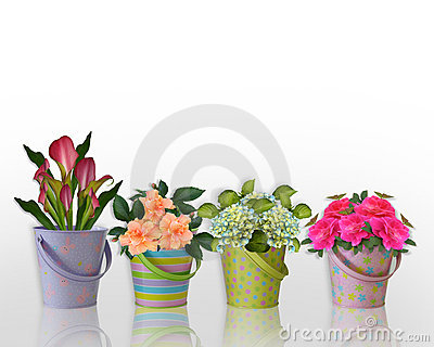 Floral border Flowers in Easter containers