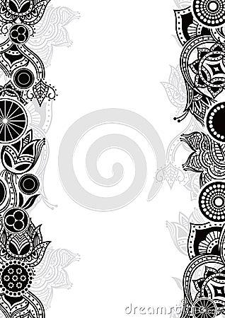 flower border black and white. Black and white floral on