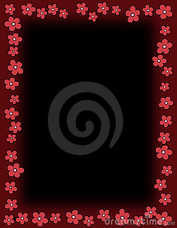Floral border - Red